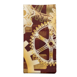 Meshing Gears on Gold and Bordeaux Abstract Blocks Napkin