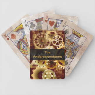 Meshing Gears on Gold and Bordeaux, Customizable Card Deck