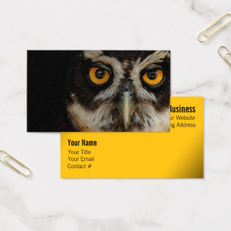 Mesmerizing Golden Eyes of a Spectacled Owl Business Card