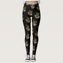 Mesmerizing Golden Eyes of a Spectacled Owl Leggings