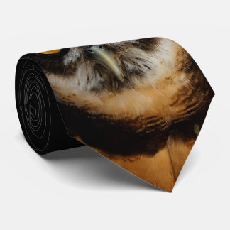 Mesmerizing Golden Eyes of a Spectacled Owl Neck Tie