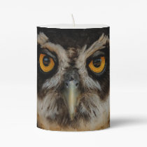 Mesmerizing Golden Eyes of a Spectacled Owl Pillar Candle
