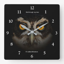 Mesmerizing Golden Eyes of a Spectacled Owl Square Wall Clock