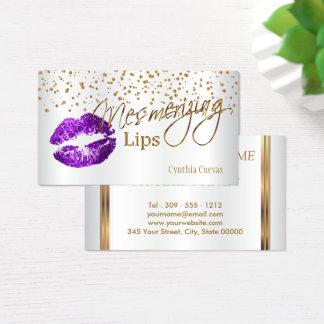 Mesmerizing Lips  Gold Confetti & Purple Lips Business Card