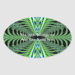 Mesmerizing Peacock Feathers Fractal Oval Sticker