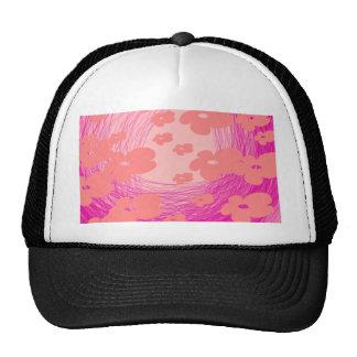 mesmerizing pink flower trucker hat