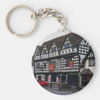 Mesón de la casa de Tudor, Warwick, Warwickshire,  Llavero Redondo Tipo Pin