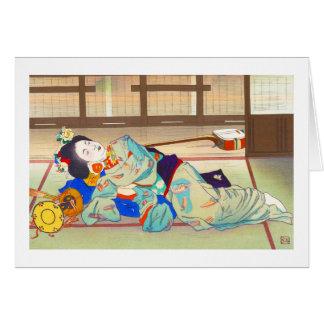 Mesón de Nakazawa Hiromitsu en la señora del japon Tarjeta Pequeña