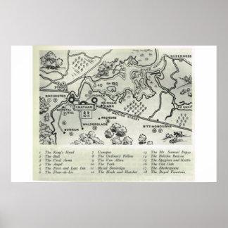 Mesones históricos de Kent, mapa de Kent del norte Póster