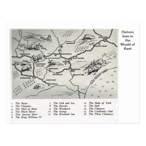 Mesones históricos en el Weald de Kent Tarjeta Postal