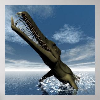 Mesosaurus dinosaur - 3D render Poster