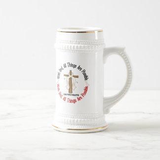 Mesotelioma con la cruz 1 de dios jarra de cerveza