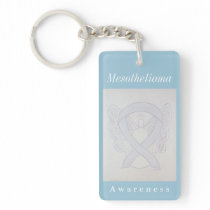 Mesothelioma Awareness Pearl Ribbon Keychain