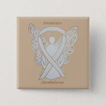 Mesothelioma Awareness Ribbon Angel Button