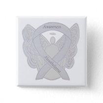Mesothelioma Awareness Ribbon Angel Button