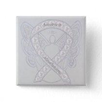 Mesothelioma Awareness Ribbon Angel Custom Button