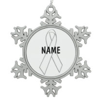 Mesothelioma Cancer Memorial Christmas Ribbon Snowflake Pewter Christmas Ornament