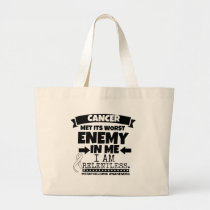 Mesothelioma Cancer Met Its Worst Enemy in Me Large Tote Bag