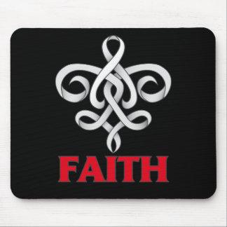 Mesothelioma Faith Fleur de Lis Ribbon Mouse Pad