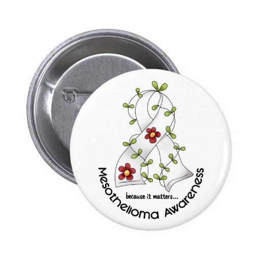 Mesothelioma Flower Ribbon 1 2 Inch Round Button
