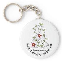 Mesothelioma Flower Ribbon 1 Keychain