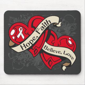Mesothelioma Hope Faith Dual Hearts Mouse Pad