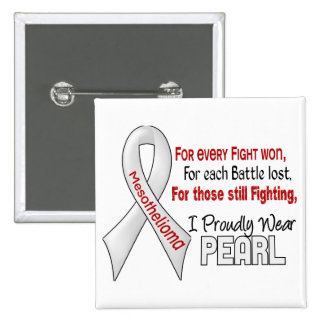 Mesothelioma I Proudly Wear Pearl 2 Inch Square Button