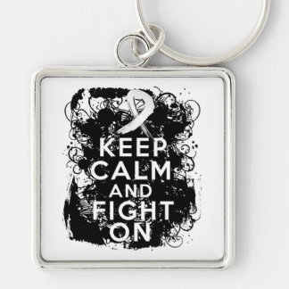 Mesothelioma Keep Calm and Fight On Keychains