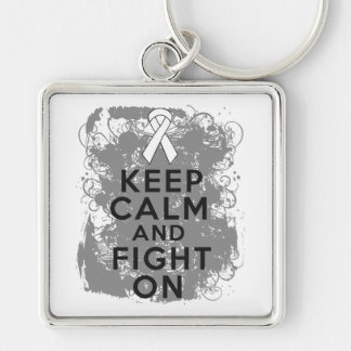 Mesothelioma Keep Calm and Fight On Key Chain