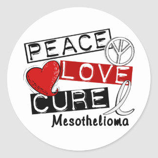 Mesothelioma PEACE LOVE CURE 1 Classic Round Sticker