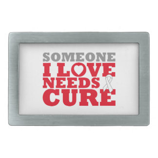 Mesothelioma Someone I Love Needs A Cure Rectangular Belt Buckle