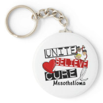 Mesothelioma UNITE BELIEVE CURE Keychain