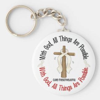 Mesothelioma With God Cross 1 Basic Round Button Keychain