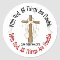 Mesothelioma With God Cross 1 Classic Round Sticker