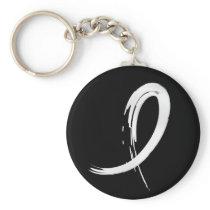 Mesothelioma's Pearl Ribbon A4 Keychain
