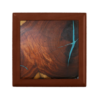 MESQUITE WITH TURQUOISE INLAY DESIGN GIFT BOX