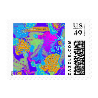 Mess in the Garden Wild and Crazy Abstract Postage