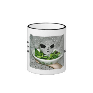 Mess With Me - Alien Head on a Platter Coffee Mug