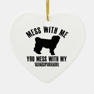 Mess with my Tibetan Terrier Double-Sided Heart Ceramic Christmas Ornament