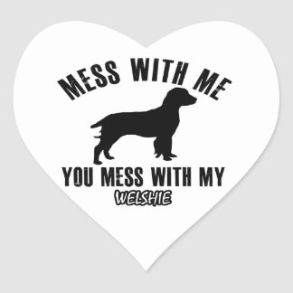 Mess with my Welshie Heart Sticker