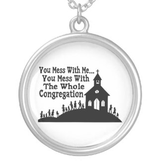 Mess With Whole Congregation Silver Plated Necklace