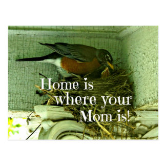 Message about Mom and Home. Postcard
