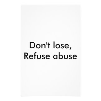 Message against abuse stationery