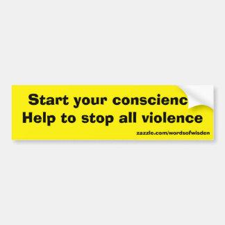 Message against all violence car bumper sticker