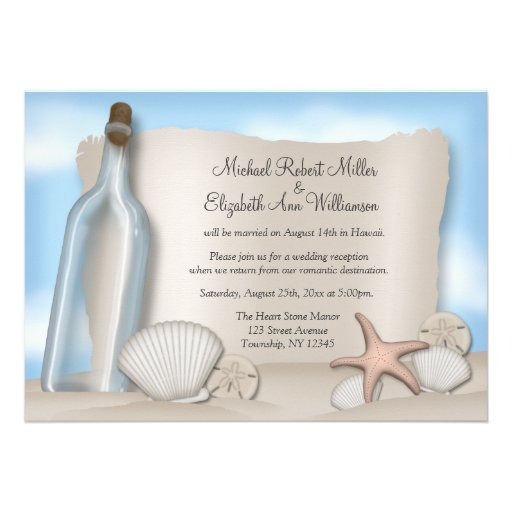 Personalized Message in a bottle Invitations CustomInvitations4Ucom