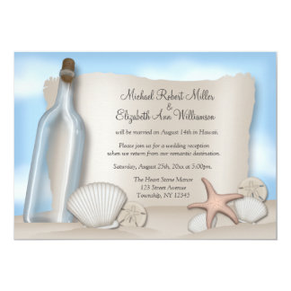 Message Bottle Beach Reception ONLY Invitations