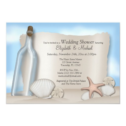 Message bottle couple 39 s beach bridal shower 5x7 paper for Wedding couples shower invitations