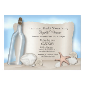 """Message from a Bottle Beach Bridal Shower 5"""" X 7"""" Invitation Card"""