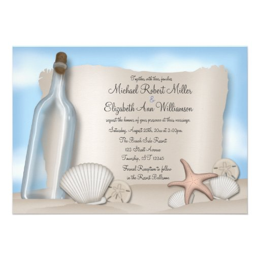 message from a bottle beach wedding invitations 5 x 7 invitatio