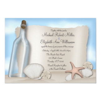 """Message from a Bottle - Beach Wedding Invitations 5"""" X 7"""" Invitation Card"""